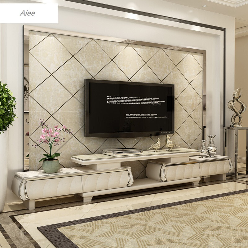 aiee大理石纹简欧电视柜茶几组合可伸缩欧式钢化玻璃烤漆客厅影视柜1.图片