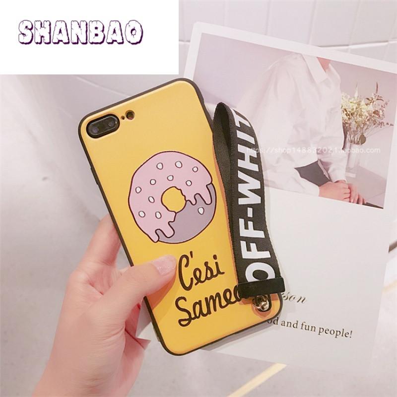 shanbao可爱甜甜圈黄色iphone7plus手机壳清新苹果7带
