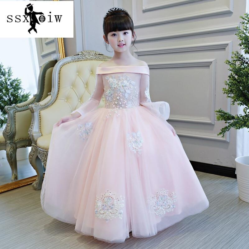 ssxoiw女童礼服公主裙粉色小孩儿童婚纱蓬蓬大童花童生日钢琴走秀演