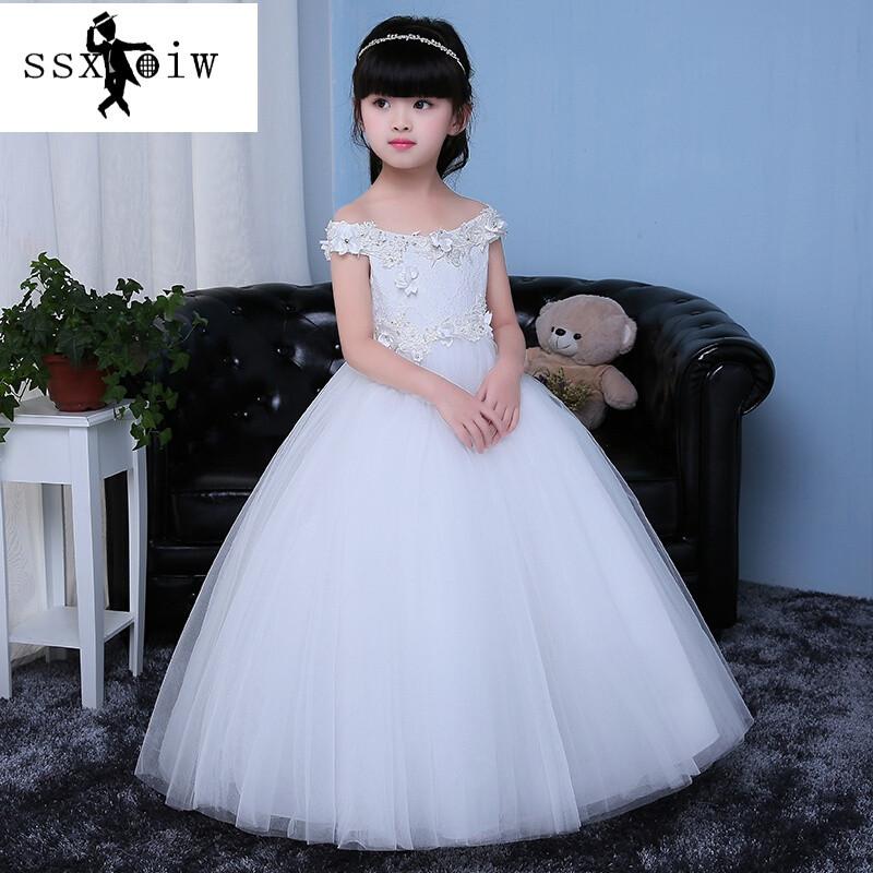 公主裙女童婚纱小孩儿童礼服长裙蓬蓬裙花童生日演出服晚礼服白色白色