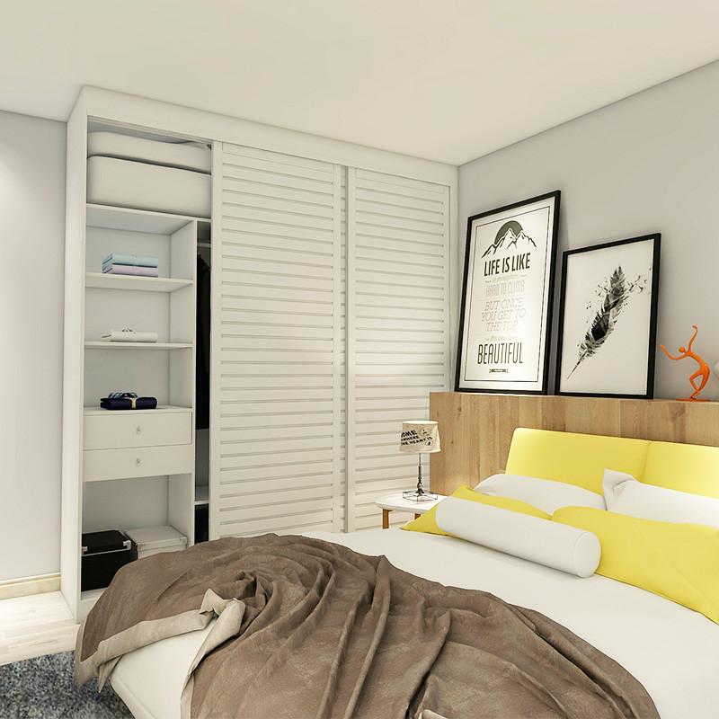 博郡全屋家具定做卧室柜子可移动4门推拉木质简易日常存储收纳柜