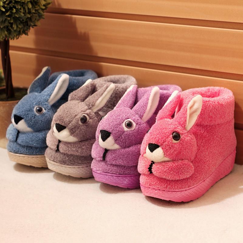 冬季保暖居家棉拖鞋女平底可爱兔子动物卡通高帮包跟防滑月子棉鞋