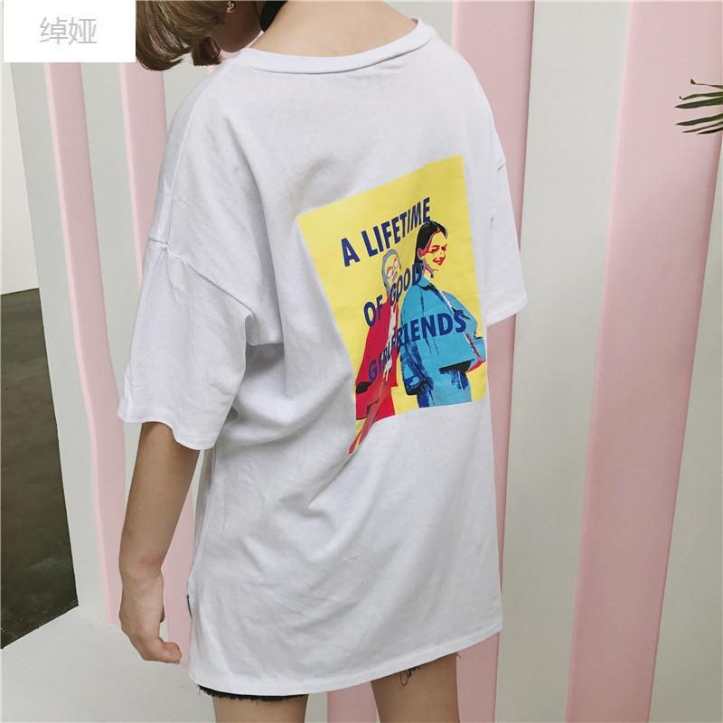 绰娅2017春夏女装新款韩版原宿风背后图案中长款收腰t恤短袖上衣学生