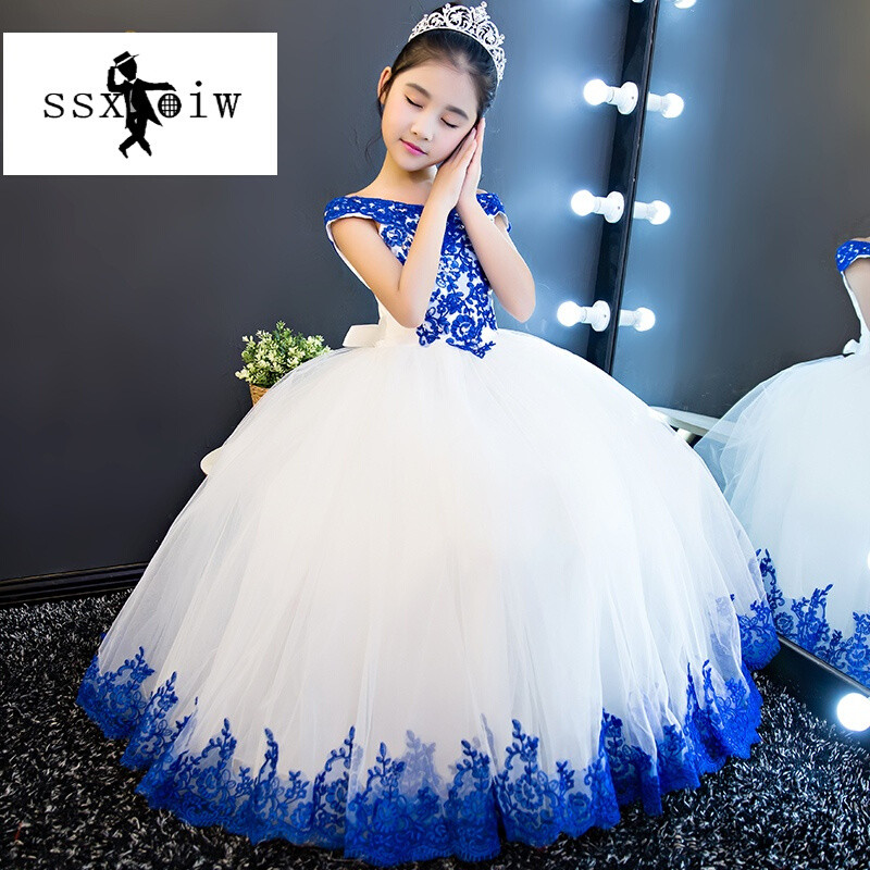 ssxoiw儿童礼服长裙花童婚纱女童公主裙模特钢琴舞蹈演出服生日蓬蓬裙