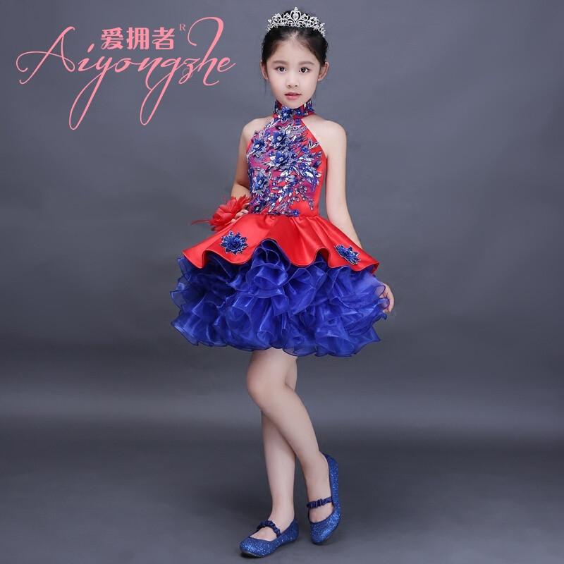 爱拥者儿童表演服装女舞台t台模特走秀小主持公主裙女童蓬蓬拖尾演出