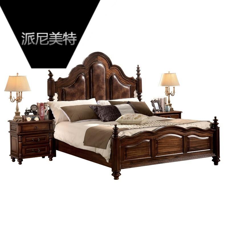 古典美式乡村实木床 黑胡桃木床 .米床双人床 黑胡桃木框架结构 .