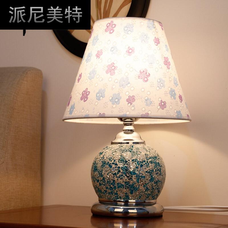 客厅卧室书房床头灯现代简约欧式田园led玻璃台灯具绿色遥控开关 led