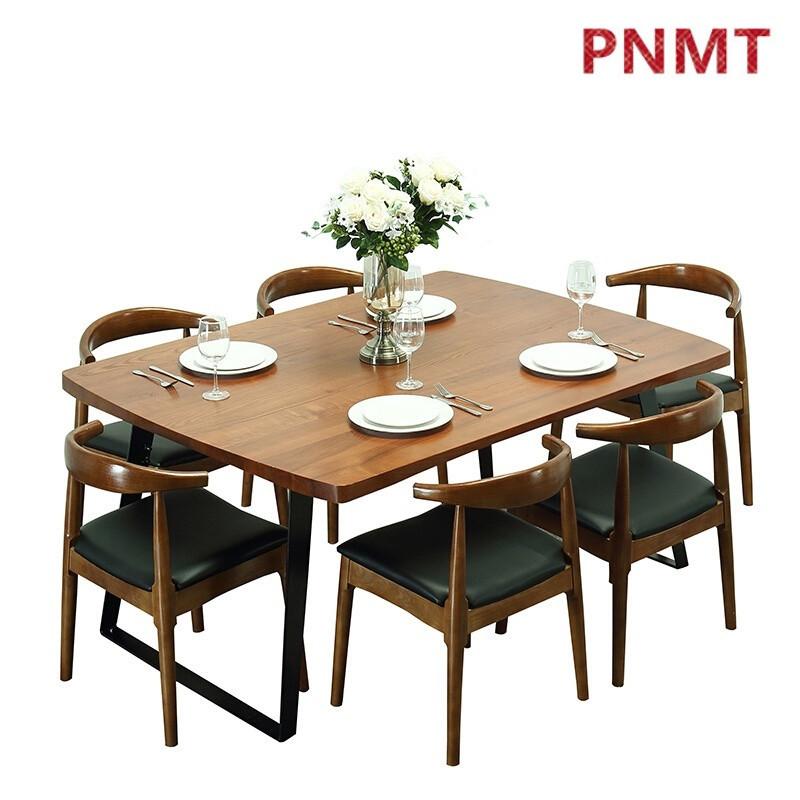 pnmt北欧小户型长方形现代简约餐桌椅组合客厅饭桌复古铁艺实木餐桌