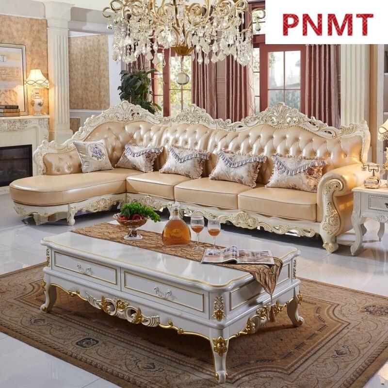 pnmt欧式真皮沙发转角l型带贵妃靠背拆装客厅家具简欧