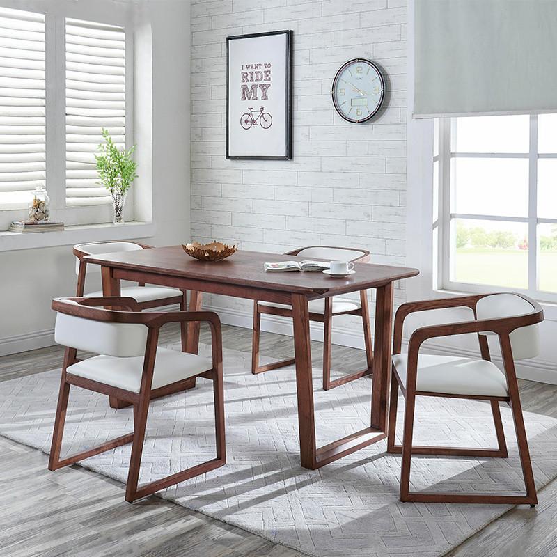 北欧式全实木白蜡木餐桌椅组合西餐厅饭桌奶茶店餐桌家用吃饭长方形
