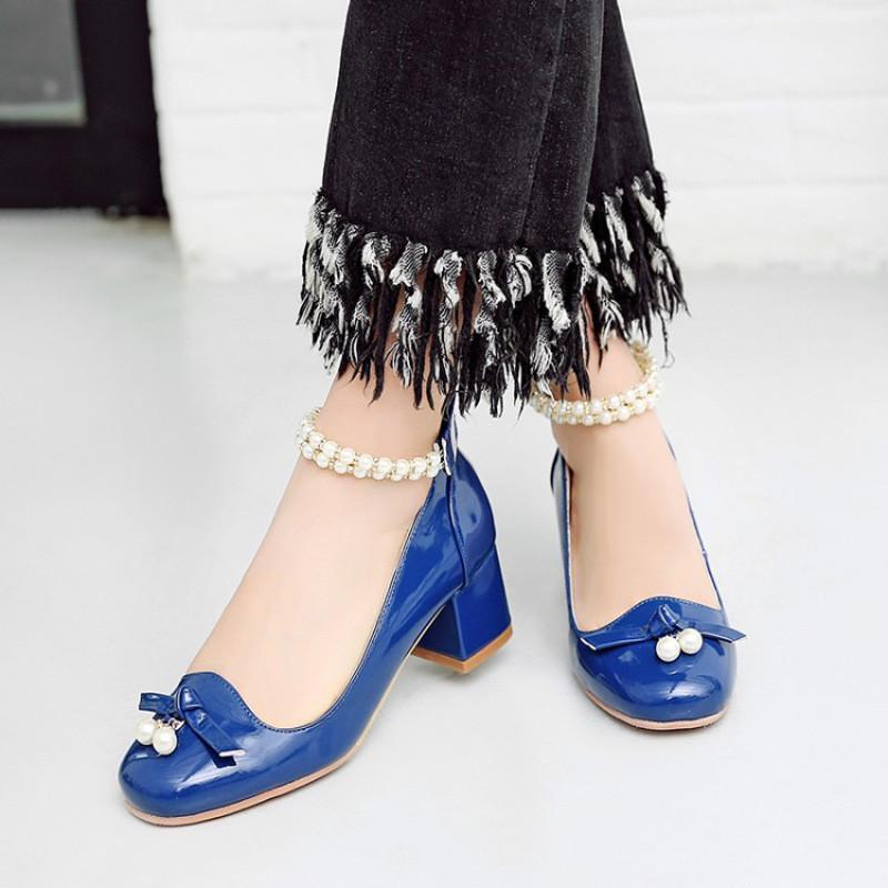 韩版宝宝儿童鞋中大童小女孩公主鞋串珠粗跟高跟鞋舞蹈鞋女童皮鞋