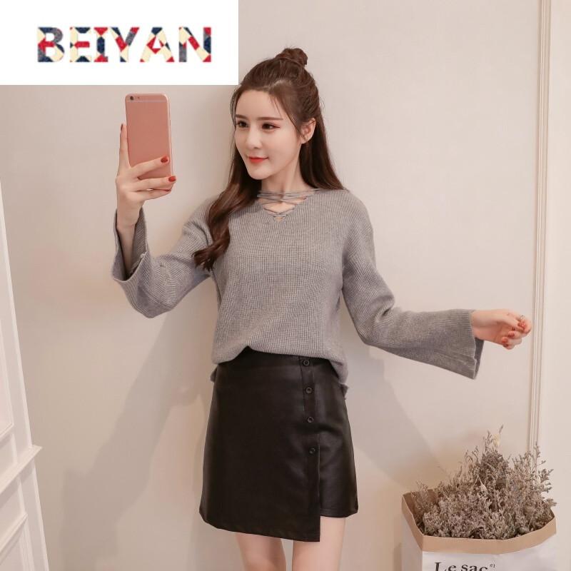 beiyan秋装新款秋冬韩版针织衫毛衣女 皮裙套装