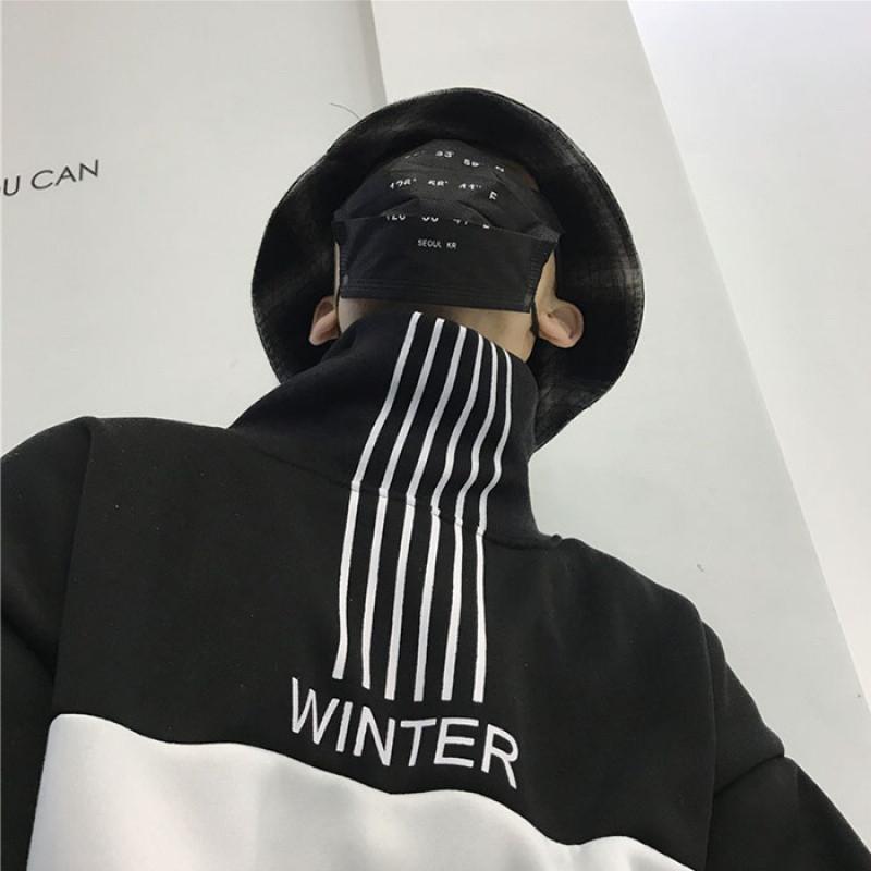 cum秋冬风ins韩版线条风格加绒高领套头卫衣男女款图片