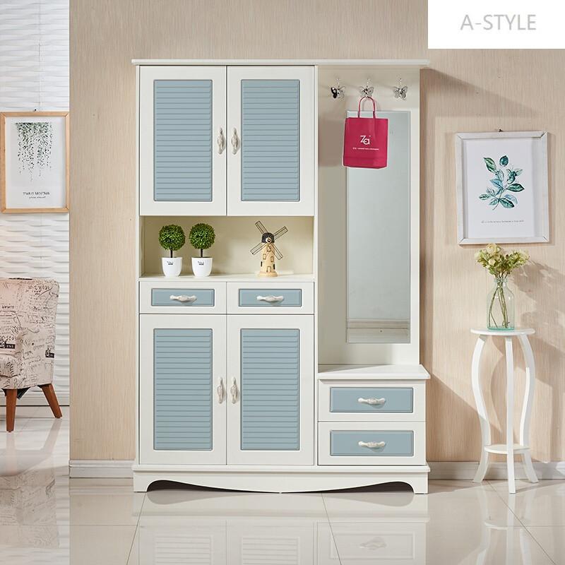 a-style门厅柜衣帽鞋柜组合多功能穿衣镜子的木质带挂架储物大容量