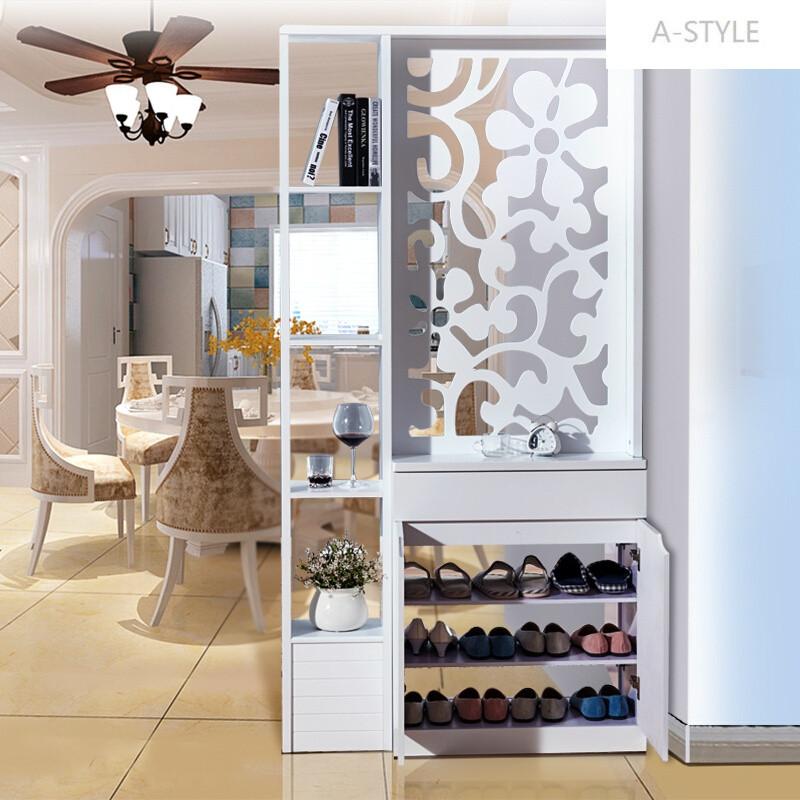 a-style简约现代玄关柜镂空雕花间厅柜隔断鞋柜门厅柜