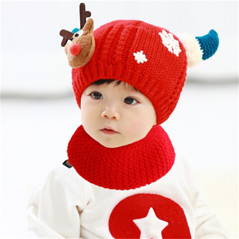 韩版宝宝帽子秋冬款加绒加厚保暖婴儿帽子0-1-2岁毛线