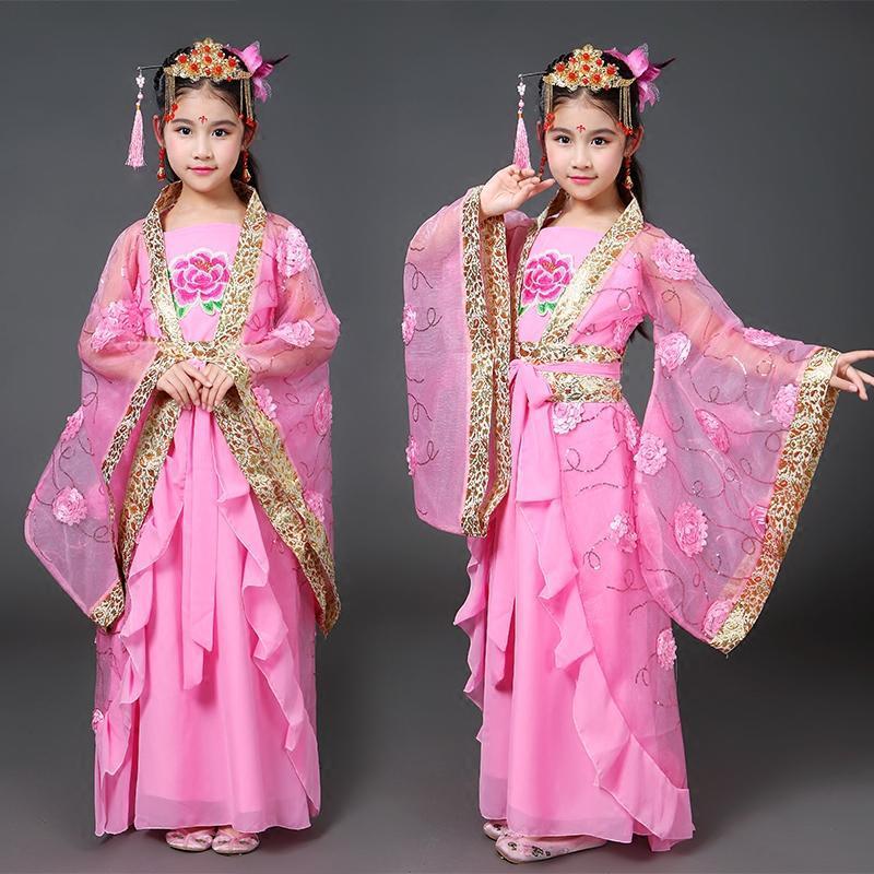 新款儿童古装女童汉服拖尾小贵妃装唐朝公主仙女装cos