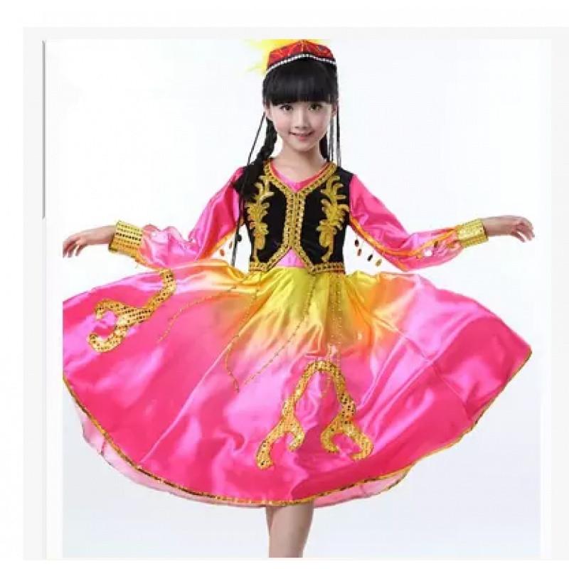 六一儿童新疆舞蹈服装少儿维族表演服民族演出服饰男女童维吾尔族图片
