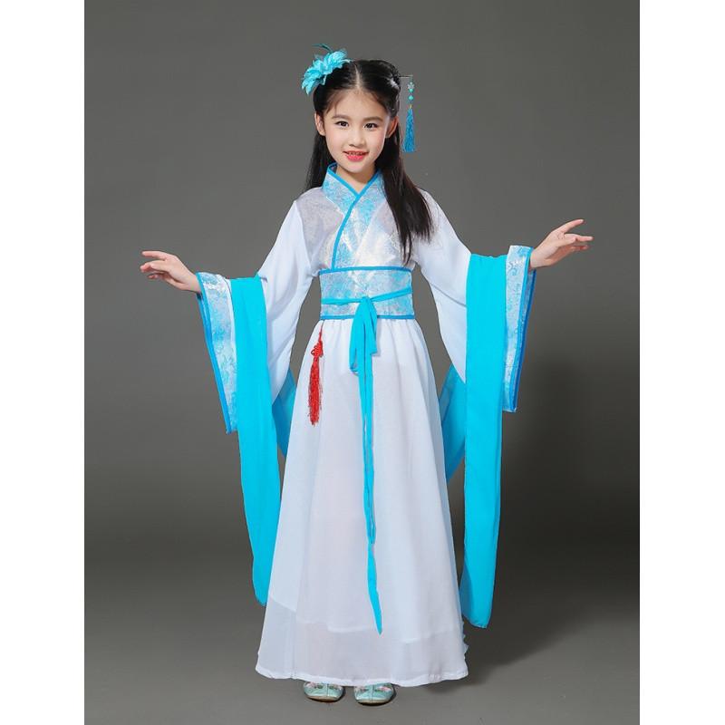 儿童古装汉服 女童民族风舞蹈演出服装 大童中国风仙女裙小孩衣服