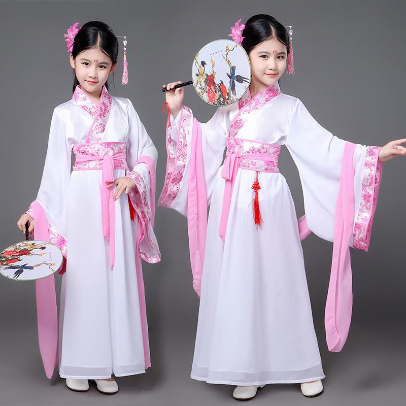 儿童古装服装女童拖尾小贵妃装女孩长袖公主古代仙女演出服装汉服