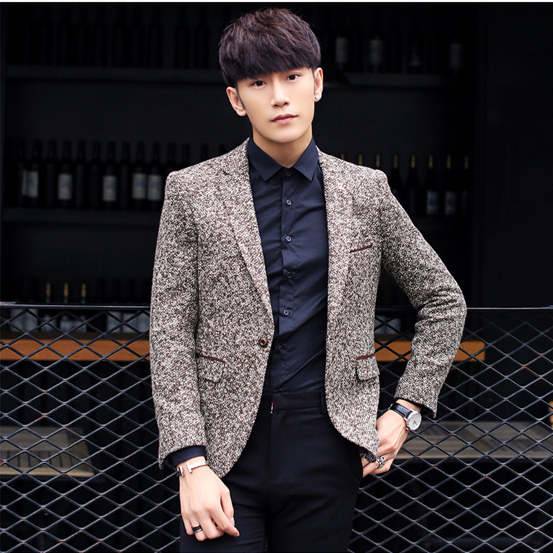 青年时尚男装_2017秋冬韩版新款青年小西装男士修身时尚英伦风男装休闲西服外套