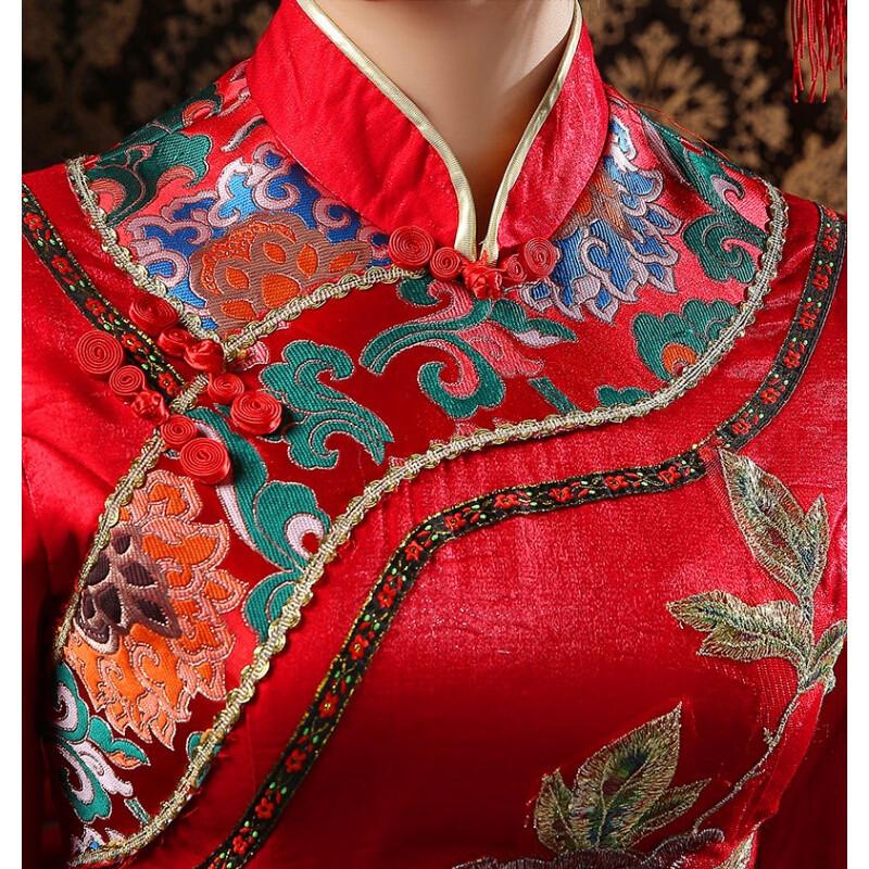 斯妍新娘结婚礼服唐装唐服古装造型复古女装影楼服装中式民族旗袍秀禾图片