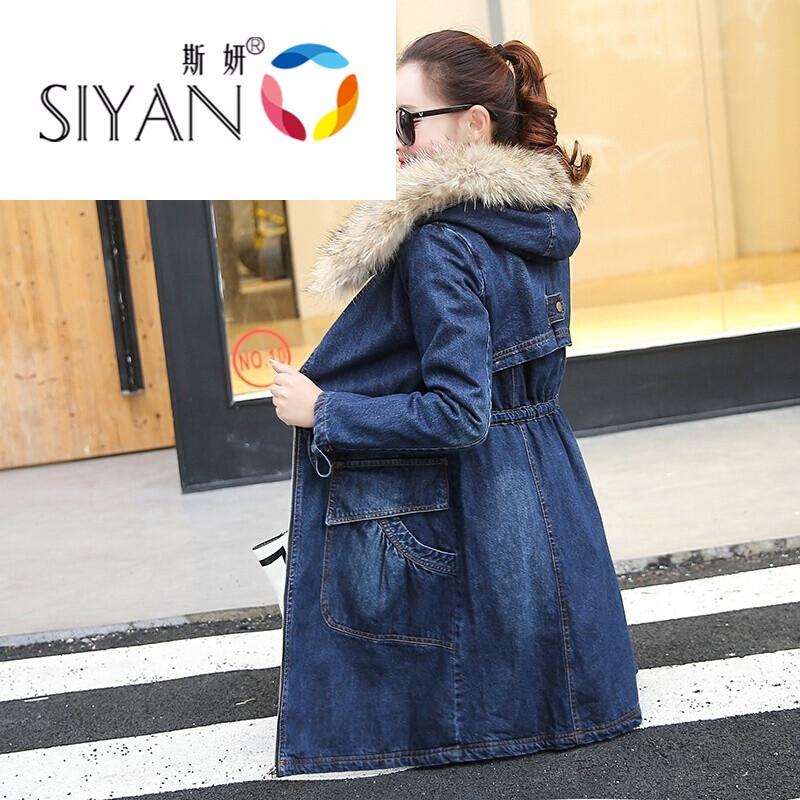 冬季棉服加厚保暖棉袄修身显瘦优雅中长款风衣外套女加绒牛仔棉衣深
