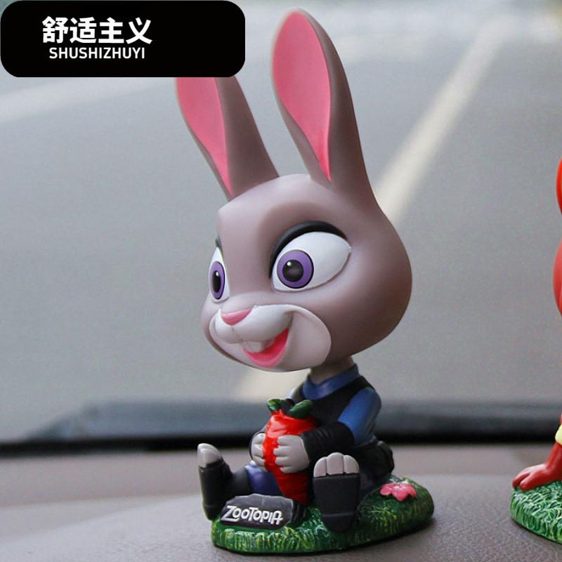 舒适主义疯狂动物城兔子与狐狸汽车摆件摇头公仔车内玩偶摆