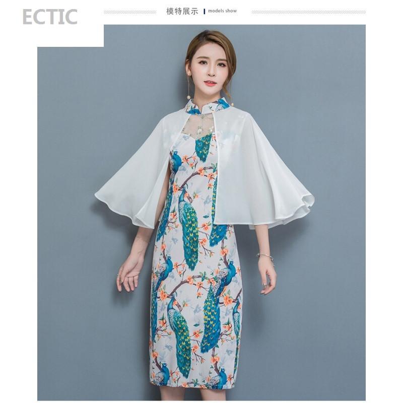 ectic牡丹花改良旗袍连衣裙夏季气质优雅碎花裙子夏