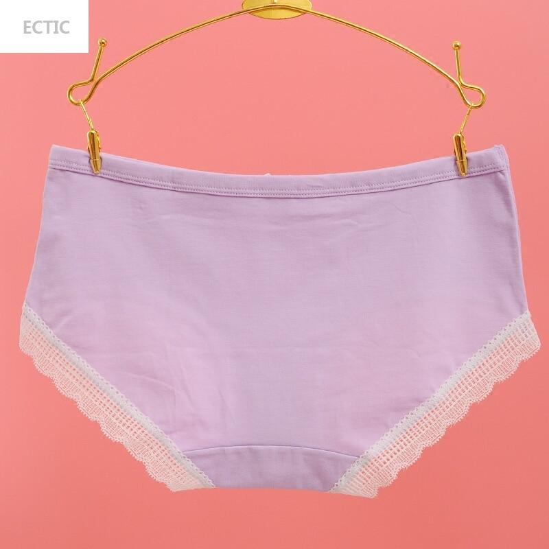 ectic满3条舒适纯棉中腰角内裤全棉健康蕾丝短裤少女内衣裤