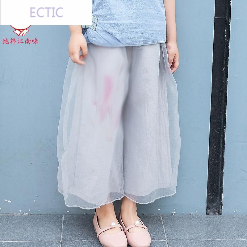 ectic夏季女童唐裝漢服2--6歲兒童軟紗闊腿褲女印花仙