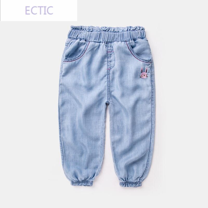 ectic女童牛仔裤夏装儿童韩版裤子童装宝宝长裤夏季防蚊裤潮新款薄款