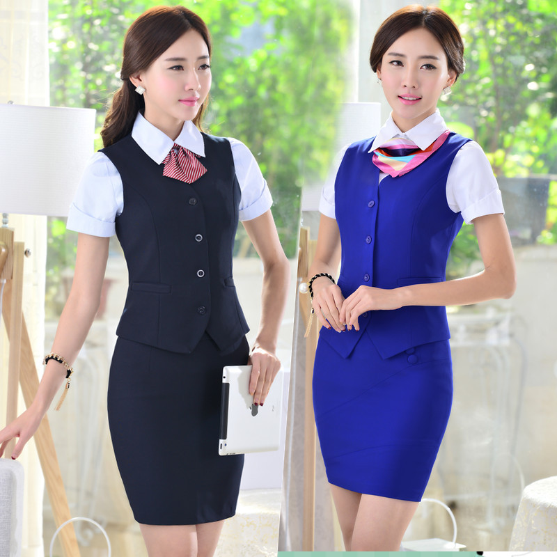 qma新款2015夏新款女式马甲套装 ol上班族酒店客服工装 银行工作服 包