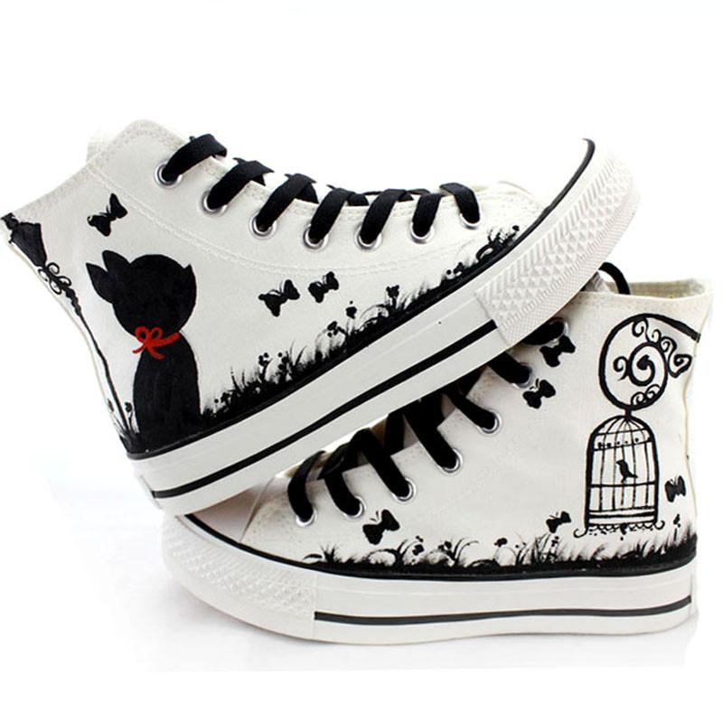 qma新款手绘棉鞋韩版学生高帮女童帆布鞋板鞋休闲女鞋