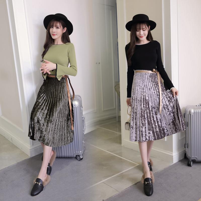 2017秋装新款喇叭袖针织衫 系带a字百褶裙金丝绒高腰半身裙两件套
