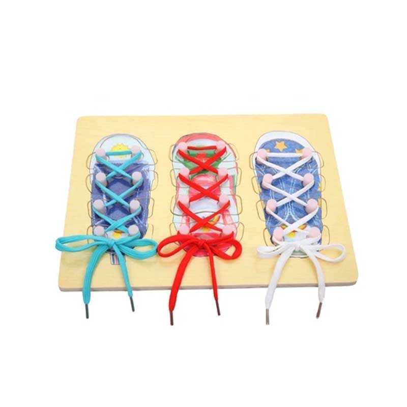home toys 20874穿鞋带绑鞋带幼儿园大班中班区域角益智玩具拼图拼板