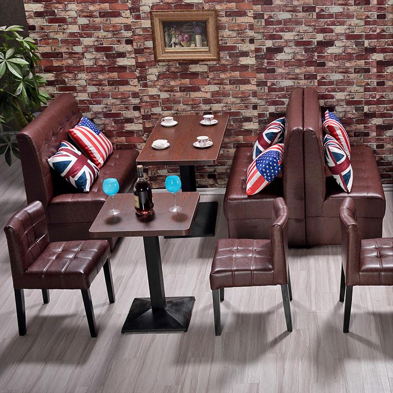 邀客 西餐廳桌椅卡座沙發主題餐廳桌椅奶茶店桌椅 火鍋店牛排店咖啡廳