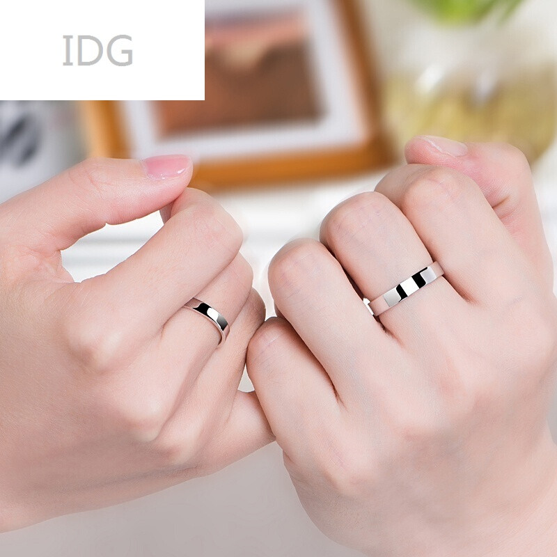 idg-925银情侣戒指一对男女对戒简约活口尾戒开口日百搭唯美饰品图片