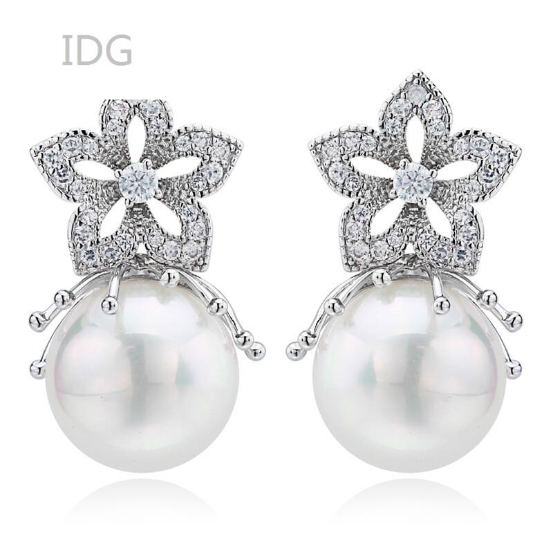 idg韩式时尚珍珠耳环女长款水晶简约花朵耳坠耳饰大耳钉复古风