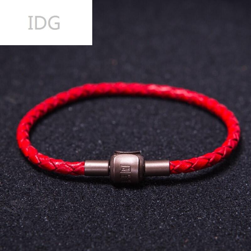 idg头层真牛皮编织皮绳手链适用于周生生转运珠手绳男女皮绳手链