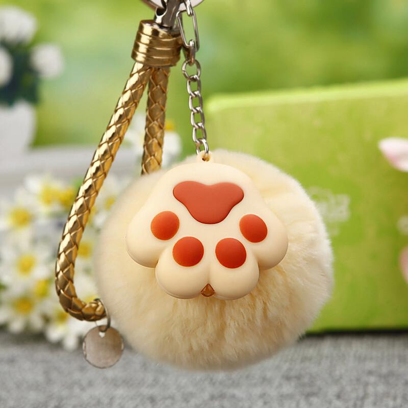 汽车钥匙扣女包包挂件钥匙链圈毛绒可爱饰品q*银色粉猫爪bv 大脸猫