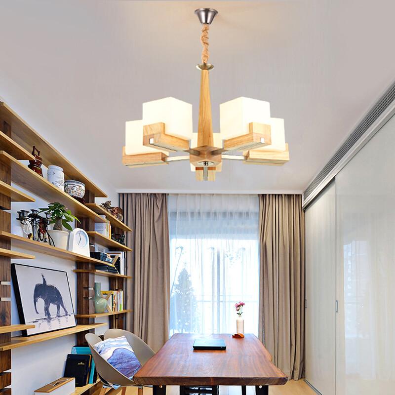 家裝節 現代簡約客廳吊燈原木色餐廳吊燈具臥室書房北歐別墅實木大氣