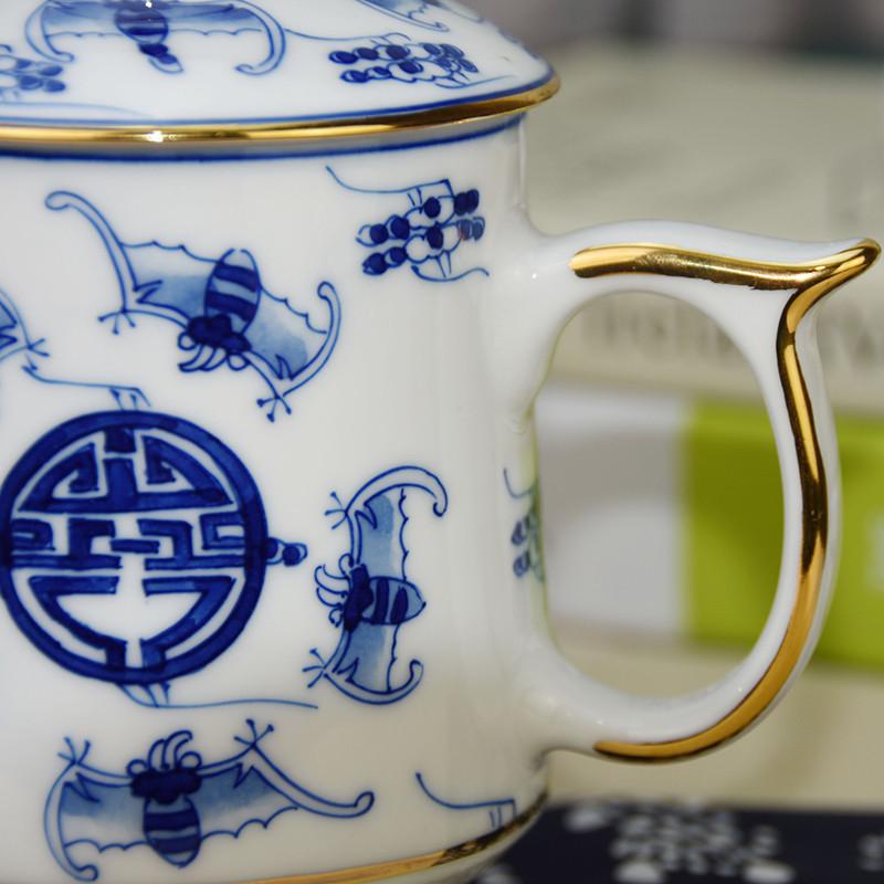 陶瓷茶杯景德镇青花瓷办公室杯子家用描金中式陶瓷老板水杯带盖 竹报
