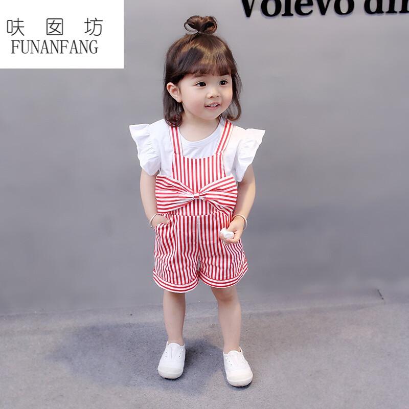 呋囡坊一岁女宝宝夏小童套装女童飞袖条纹背带裤两件套0-2-3岁婴儿