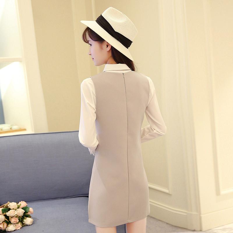 2017春秋新款女装气质v领长袖衬衫背心连衣裙两件套时尚衬衣套装图片
