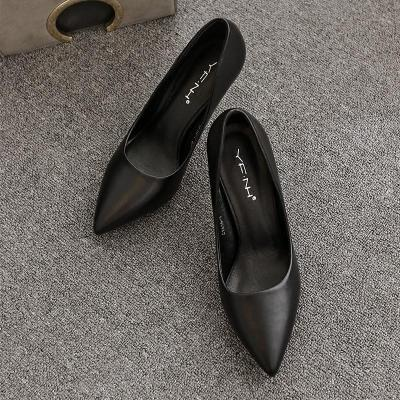 單鞋女工作黑色高跟鞋優雅職業中跟尖頭細跟禮儀ol正裝7cm5cm面試MAR PAIRS
