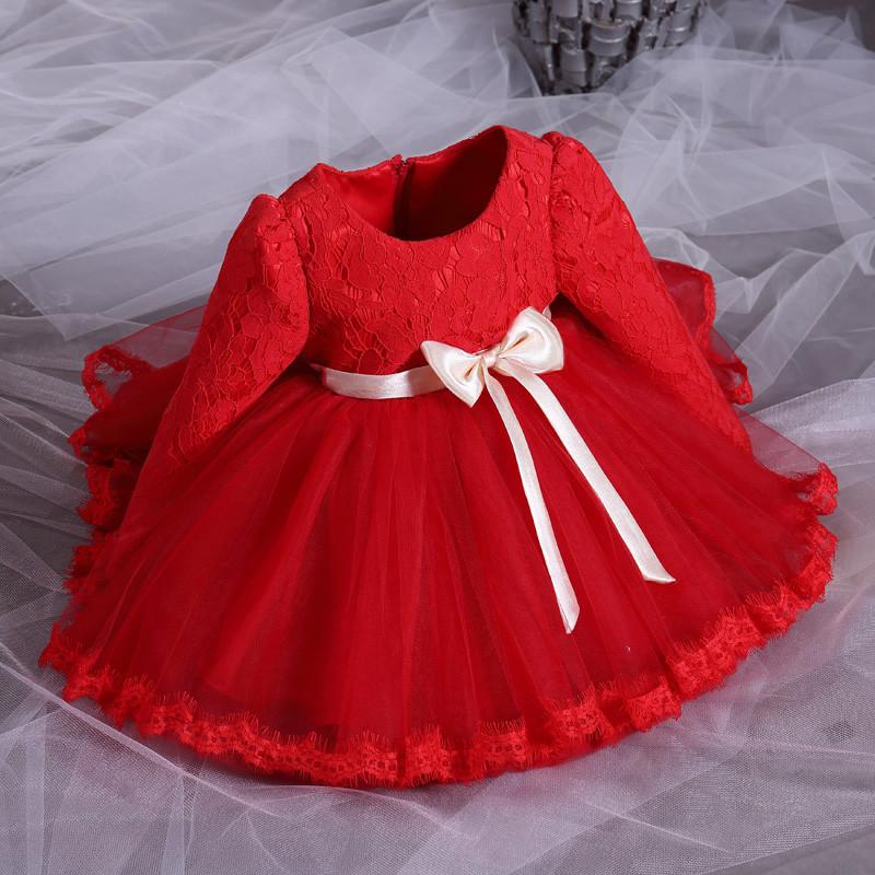 新款女童春秋装宝宝公主裙礼服花童长袖连衣裙儿童蓬蓬裙周岁婴儿裙子