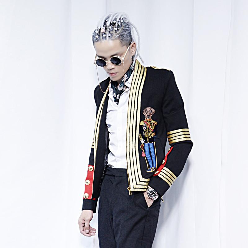 夜场服装男模衣服夜店男帅气韩版发型师小西装刺绣外套修身宫廷潮图片