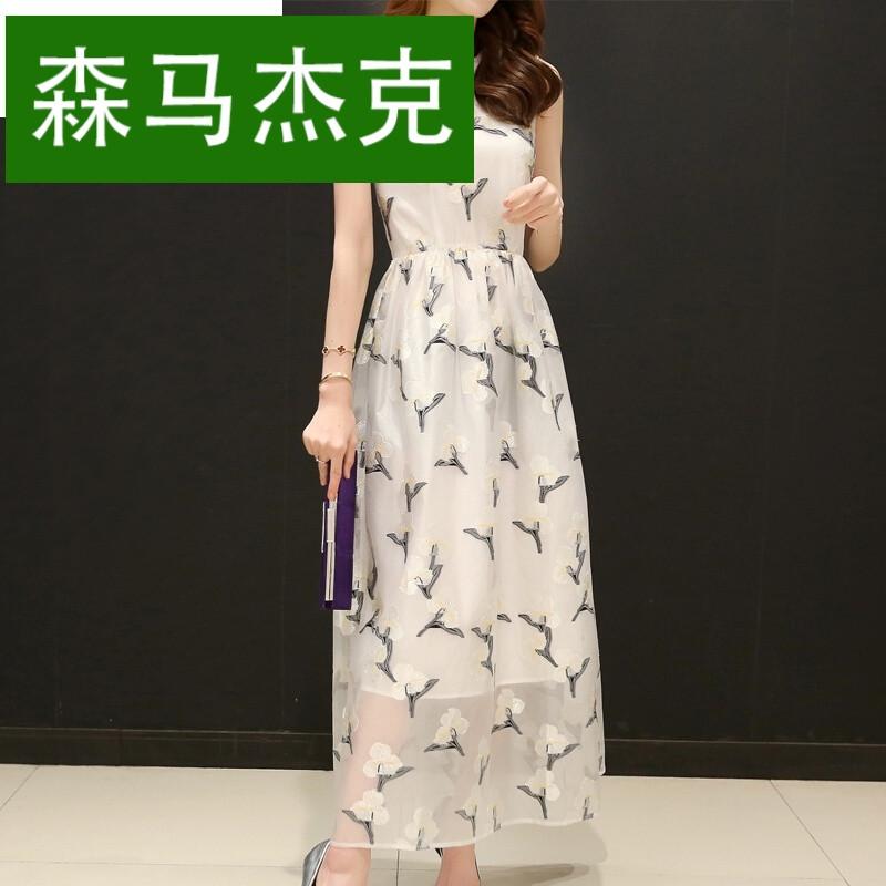 森马杰克2017夏季新款女装韩版气质欧根纱刺绣连衣裙印花无袖中长款图片