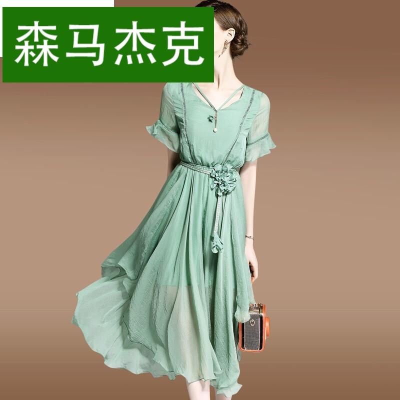 森马杰克高端女装荷叶袖v领雪纺连衣裙2017夏季新款显瘦中长款裙子图片